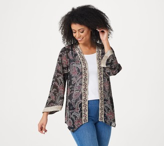 Belle By Kim Gravel Printed Chiffon Cardigan with Embroidery