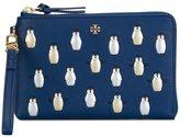Tory Burch metallic penguins zip wallet