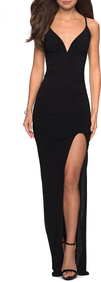 La Femme V-Neck Sleeveless Ruched Jersey Cross-Back Dress