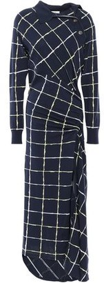 Cédric Charlier Ruched Draped Checked Cotton-blend Midi Dress