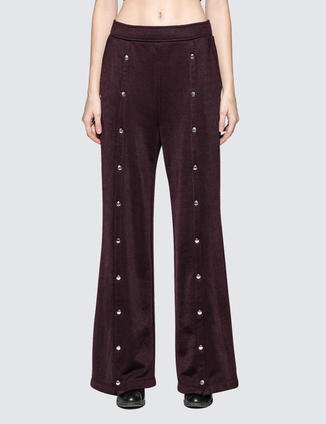 Alexander Wang Wide Leg Pull On Pants With Snaps