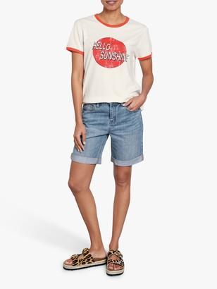 Hush Organic Cotton Hello Sunshine Slogan T-Shirt, White
