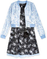 Beautees 2-Pc. Floral Shift Dress and Bomber Jacket Set, Big Girls