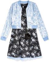 Beautees 2-Pc. Floral Shift Dress & Bomber Jacket Set, Big Girls