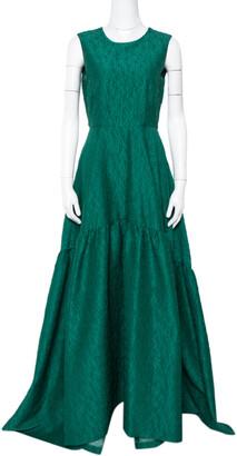 Carolina Herrera Green Floral Jacquard Flared Gown M