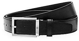 Montblanc Men's Westside Rectangular Shiny Stainless Steel Pin Buckle Leather Belt