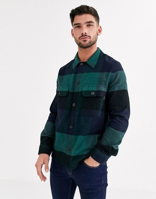 Paul Smith flannel buffalo check overshirt in green and navy