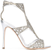 Sergio Rossi stone embellished sandals - women - Leather/Crystal - 36
