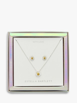 Estella Bartlett Wildflower Pendant Necklace and Earrings Jewellery Box Set, Silver