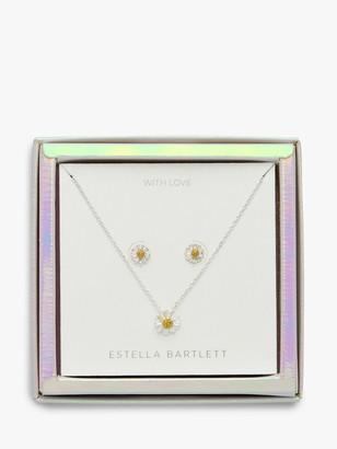Estella Bartlett Wildflower Pendant Necklace and Earrings Jewellery Box Set, Silver