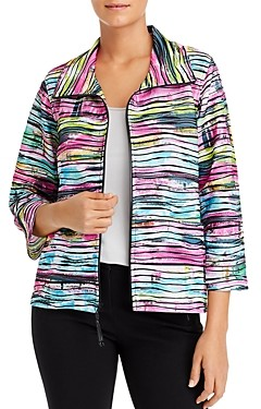 Caroline Rose Tie-Dyed Knit Zip Jacket