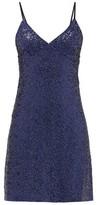 Norma Kamali Sequinned Jersey Slip Dress - Womens - Navy