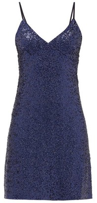 Norma Kamali Sequinned Jersey Slip Dress - Navy