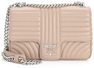 Prada Large Diagramme Leather Shoulder Bag