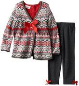 Little Lass Baby Girl Fairsle Cardigan, Snowman Top & Leggings Set