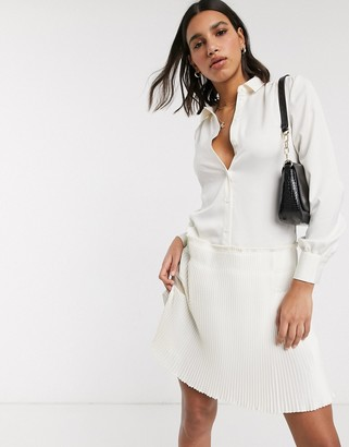 Y.A.S shirt dress with pleated hem in cream