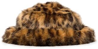 EMMA BREWIN Leopard Faux-Fur Bucket Hat