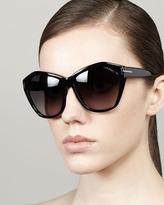 Tom Ford Angelina Squared Cat-Eye Sunglasses, Black