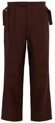 Bode - Straight Leg Linen Trousers - Mens - Brown