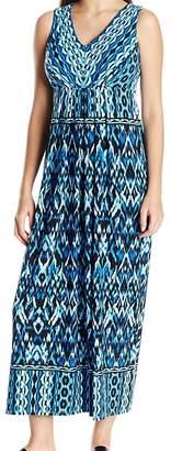 London Times Women's Petite Sleeveless V Neck Jersey Maxi Dress