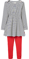 Joules Little Joule Girls' Iona Striped Dress and Leggings Set, Navy/Red