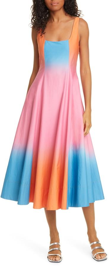 STAUD Wells Colorblock Stretch Cotton Dress