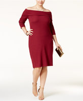 ING Trendy Plus Size Off-The-Shoulder Sweater Dress, Only at Macy's