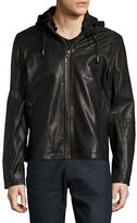 Cole Haan Hooded Faux-Leather Moto Jacket
