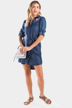 francesca's Sasha Embroidered Shirt Dress - Chambray