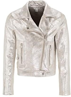 Tribal Biker Jacket (Silver) Women's Clothing
