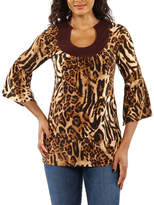 24/7 Comfort Apparel Loveley Leopard Tunic Top
