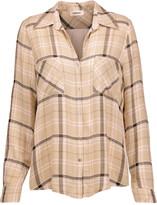 L'Agence Denise silk crepe de chine-paneled plaid twill shirt
