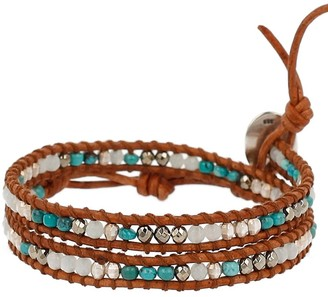 Chan Luu Sterling Silver with Turquoise Stone Mix Double Wrap Tan Leather Bracelet