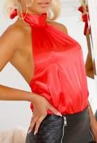 Pink Boutique Eliza Red Satin Halter Bodysuit
