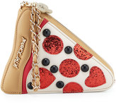Betsey Johnson Sequined Pizza Wristlet, Cream/Multi