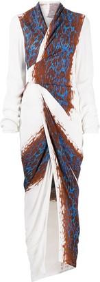 Rick Owens Abstract-Print Wrap Maxi Dress