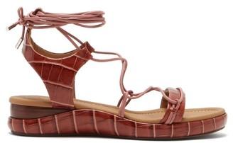 Chloé Wraparound Crocodile-effect Leather Sandals - Tan