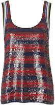 3.1 Phillip Lim Red Striped Sequin Tank