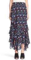 Tanya Taylor &Rita& Floral Print Silk Chiffon Skirt