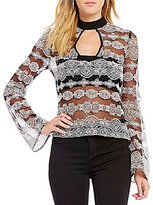 Band of Gypsies Keyhole Mock Neck Geometric Embelished Mesh Top