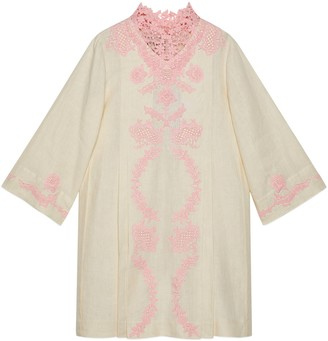 Gucci Linen short kaftan dress with lace