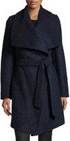 MICHAEL Michael Kors Wool-Blend Wrap Coat, Navy/Black