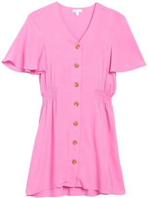 Abound Flutter Sleeve Button Front Dress