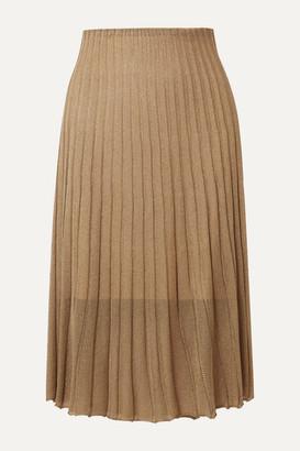 Vince Pleated Metallic Crochet-knit Midi Skirt - Bronze