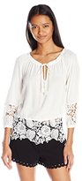 XOXO Women's Peasant Top with Lace Contrast