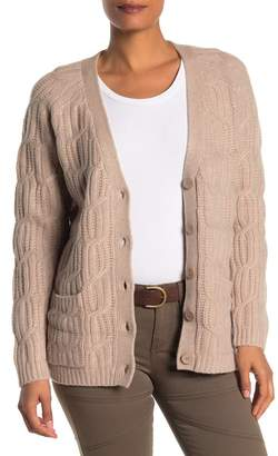 Magaschoni Long Sleeve Wool Blend Cardigan