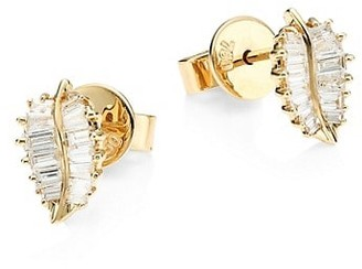 Anita Ko 18K Yellow Gold & Baguette Diamond Small Palm Leaf Stud Earrings
