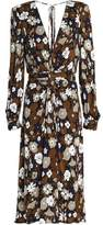 Michael Kors Ruched Floral-Print Jersey Dress