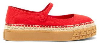 Prada Mary-jane Twill Platform Flats - Womens - Red