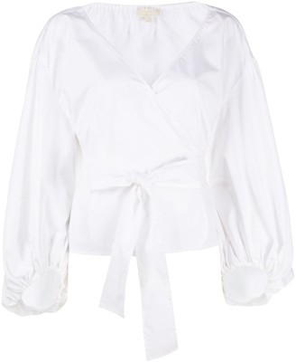 MICHAEL Michael Kors Puff Sleeve Wrap Top